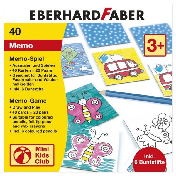 Memo-Spiel zum Ausmalen 40 Karten 59x59mm weiß Karton, inkl. 6 Buntstifte, ab 3 Jahren