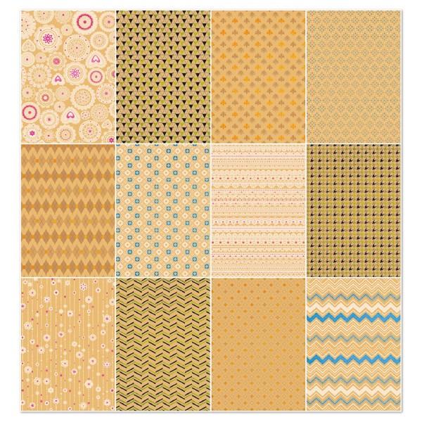 Kraftpapier-Block Designpapier DIN A4 12 Bl./Motive mit Glitter, 120g/m²