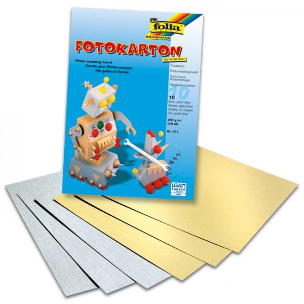 Fotokarton 300g/m² DIN A4 10 Bl. gold & silber