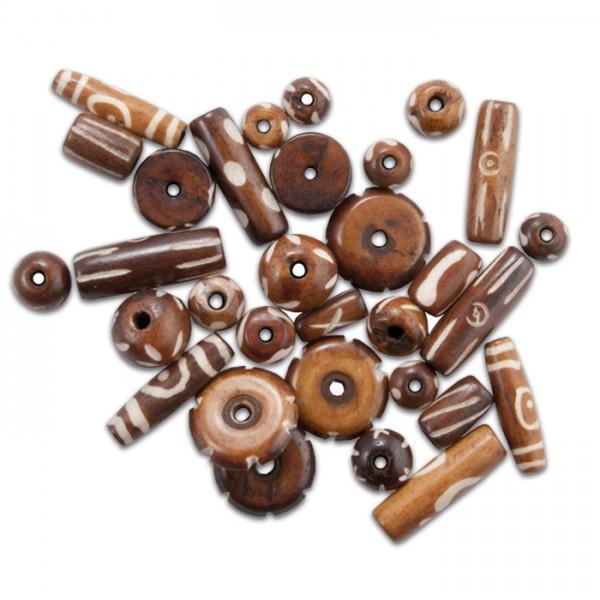 Knochenperlen-Mix ca. 8-25mm 30-40g braun Lochgr. ca. 1,5-2mm