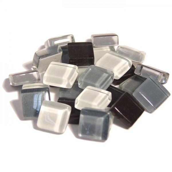 Mosaik Soft-Glas 10x10x4mm 200g grau mix ca. 210 Steine