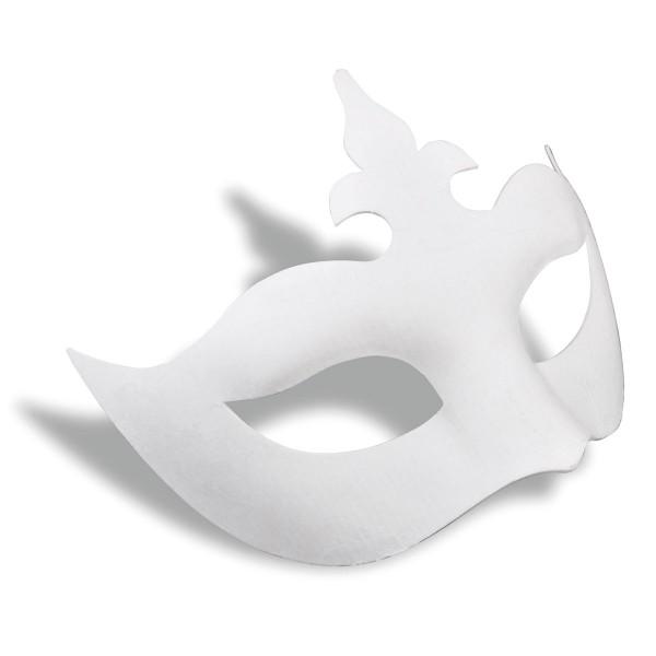 Maske Venezia Pappmaché ca. 18,5cm breit weiß