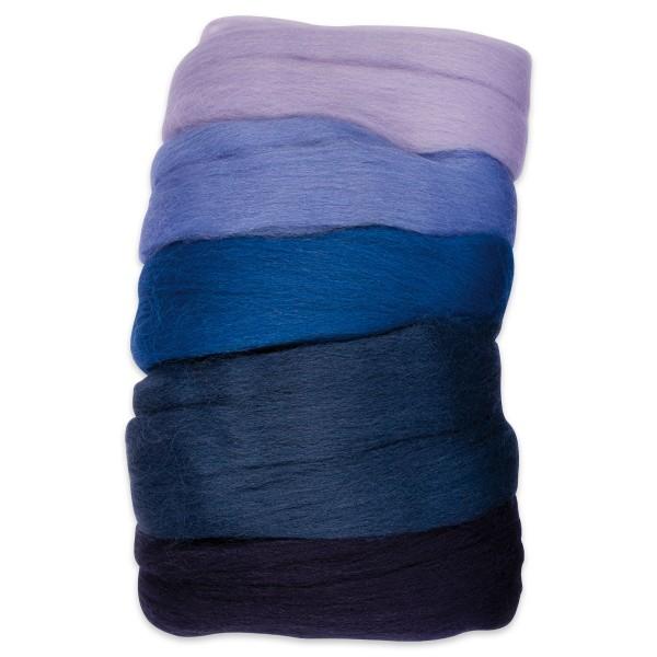 Kammzugwolle Merino 50g blauton 100% Wolle vom südamerikanischen Merinoschaf