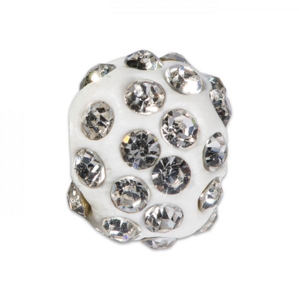 Strass-Kugel/Strassperle 10mm kristall Kunststoff/Glas, Lochgröße ca. 1,3mm