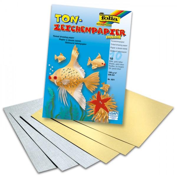 Tonpapier 130g/m² DIN A4 10 Bl. gold & silber
