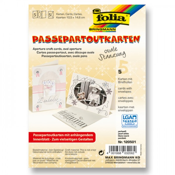 Passepartoutkarten DIN A6 5 St. oval perlweiß inkl. Kuvert&Einlegeblatt, 220g/m²