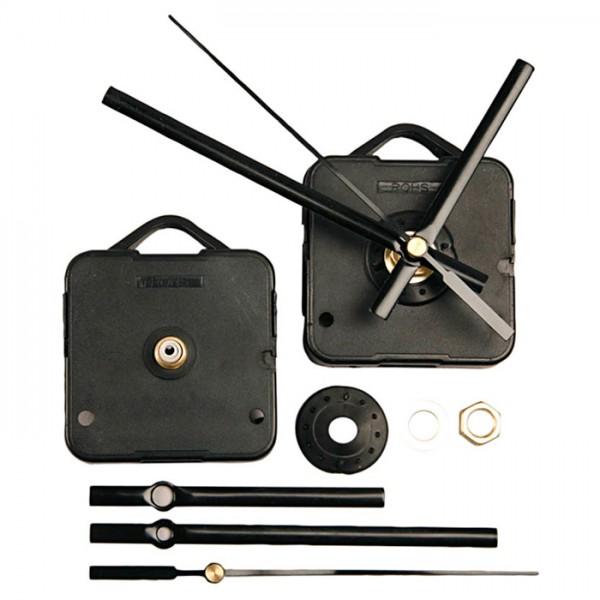 Uhrwerk-Set Kunststoff-Gehäuse 55x55x15mm schwarz inkl. Zeiger 8/11&12cm, Wandstärke 3mm