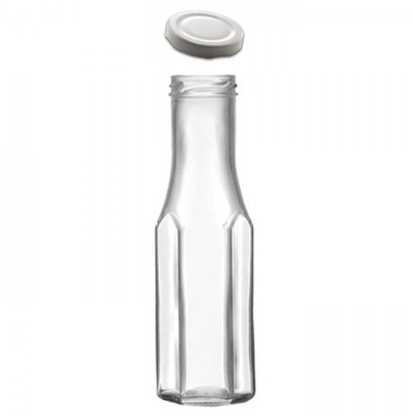 Weithalsflasche & Deckel 6eck 256ml ca. 5,6x18,9cm