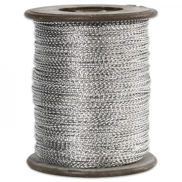 Anhängerband 0,5mm 100m glänzend silberfarben 100% Polyester