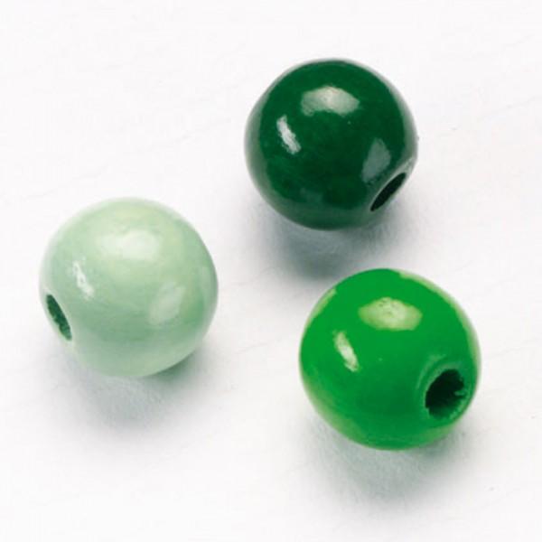 Holzperlen-Mix 15mm 15 St. grün mix Lochgr. ca. 3,2mm
