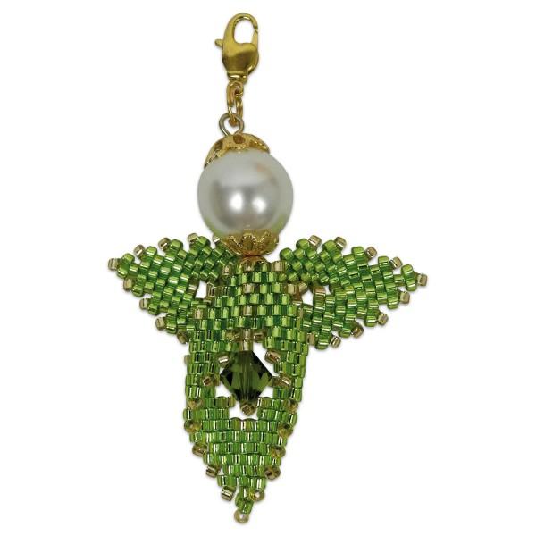 Kreativset Peyote Engel hellgrün-goldfarben ca. 5cm, Perlen-Bastelset, Kunstoff/Metall
