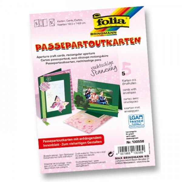 Passepartoutkarten DIN A6 5 St Rechteck tannengrün inkl. Kuvert&Einlegeblatt, 220g/m²