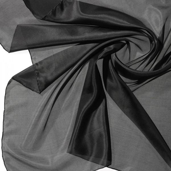 Tuch Seide Pongé 05 90x90cm schwarz 100% Seide