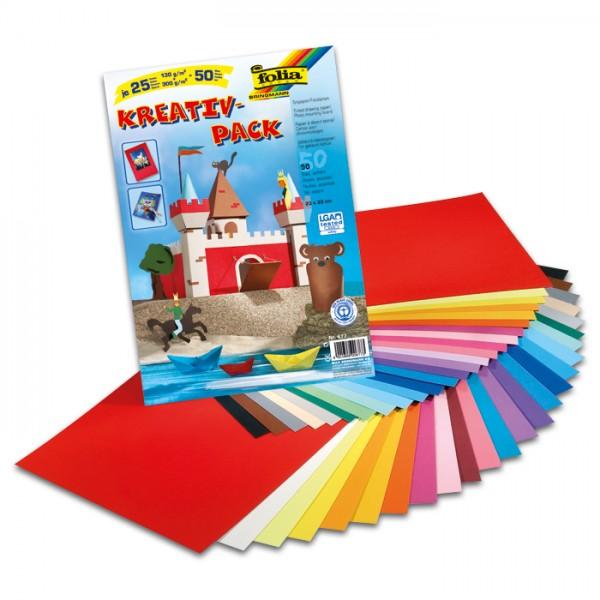 Tonpapier/Fotokarton Kreativpack 50 Bl./25 Farben 23x33cm, 130g/m² & 300g/m²