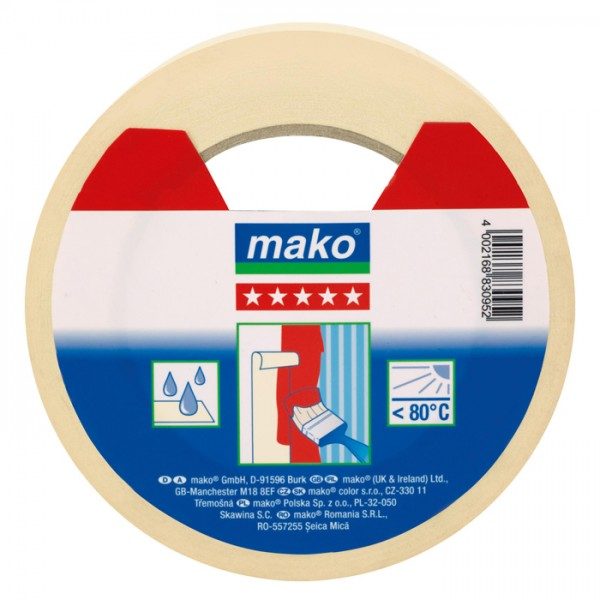 mako Malerkrepp/Abdeckklebeband 19mm 50m feingekreppt, nassfest