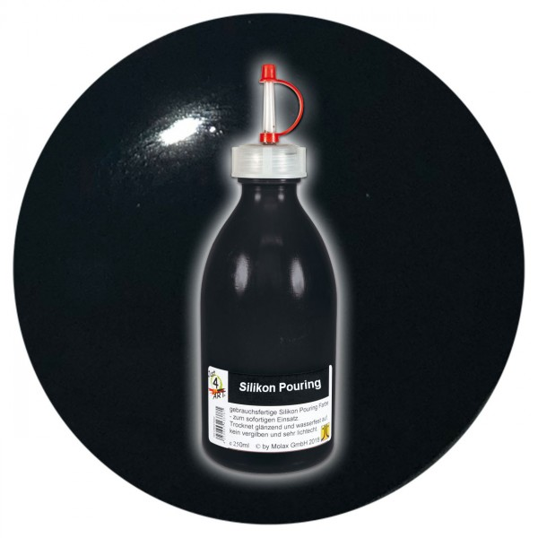 Just4Art Silikon Pouring Farbe 250ml schwarz mit Spritzdüse
