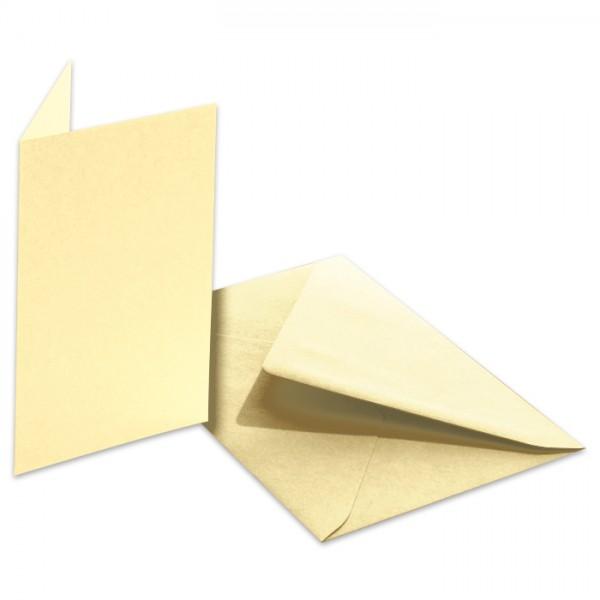 Doppelkarten 220g/m² 10,5x15cm 5 St. strohgelb inkl. Kuvert&Einlegeblatt
