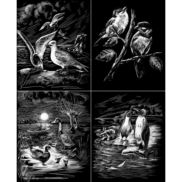 Kratzbilder-Set silber Vögel und Seevögel 4 St. à 24,5x30cm