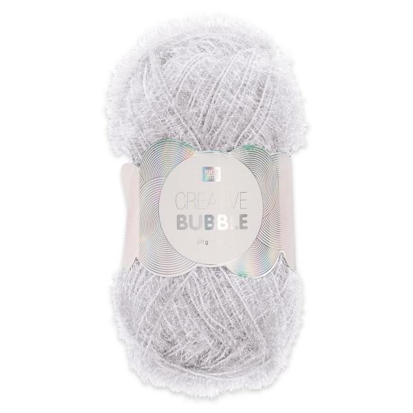 Creative Bubble Wolle 50g ca. 90m weiß Nadel Stricken Nr. 2, Häkeln Nr. 4, 100% Polyester