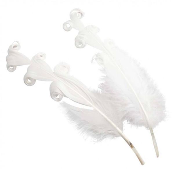 Entenfedern gelockt 14-16cm 12 St. weiß