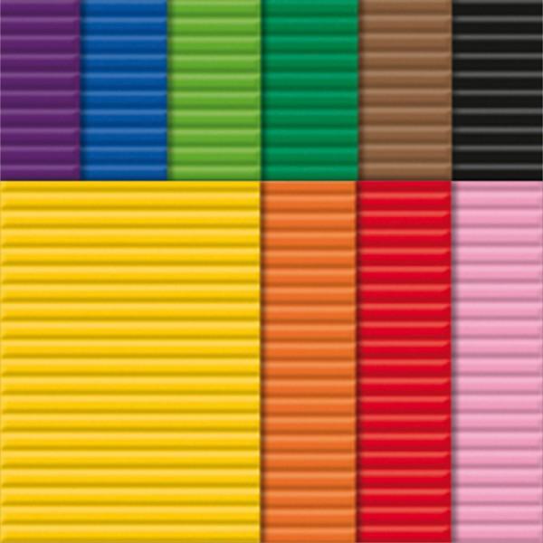 Bastelwellpappe 260g/m² 50x70cm 10 Bl./Farben