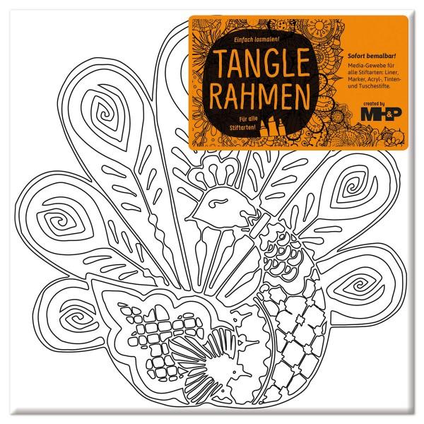 Tangle-Keilrahmen 20x20x2cm Pfau