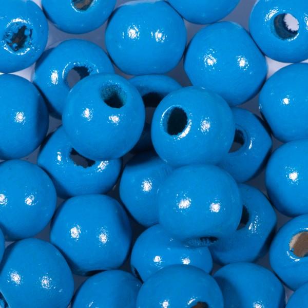Holzperlen 10mm 56 St. blau Lochgr. ca. 2mm