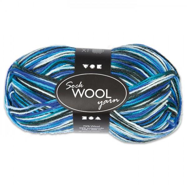 Sockenwolle 50g blau-türkis 75% Wolle, 25% Polyamid, für Nadel Nr. 2,5-3