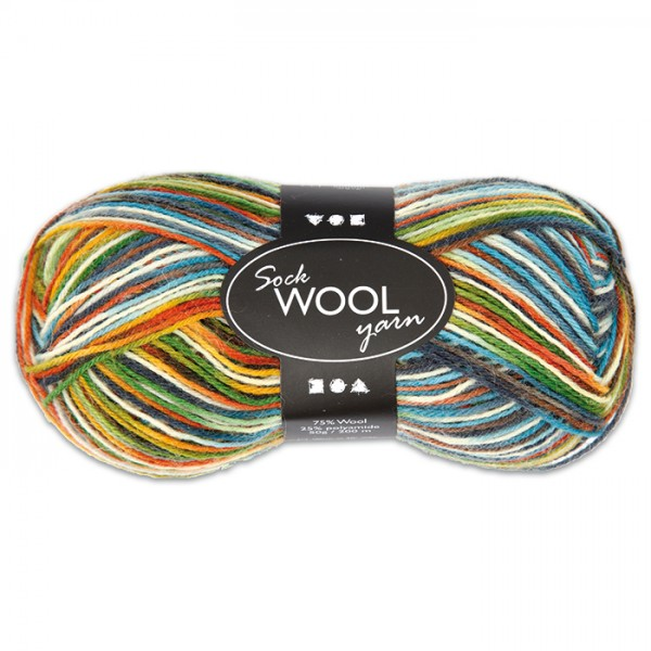 Sockenwolle 50g multicolor 75% Wolle, 25% Polyamid, für Nadel Nr. 2,5-3