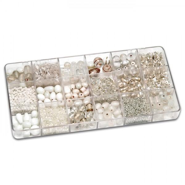 Schmuckbox groß Glasperlen 3-16mm 200g weiß Lochgr. ca. 0,7-1,5mm