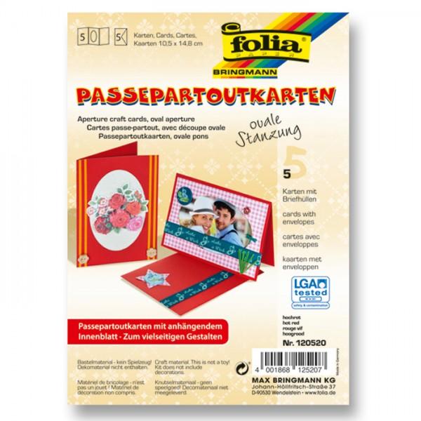 Passepartoutkarten DIN A6 5 St. oval hochrot inkl. Kuvert&Einlegeblatt, 220g/m²