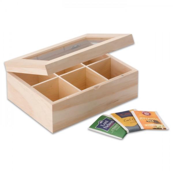 Holz-Teebox 22x16x9cm 6 Fächer natur Deckel mit Glaseinsatz