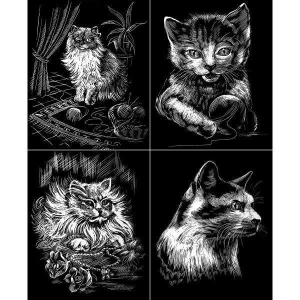 Kratzbilder-Set silber Katzen 4 St. à 24,5x30cm