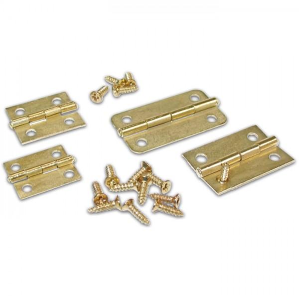 Scharniere 4 Größen 12 St. vermessingt Metall, 16x13-30x16mm, inkl. Schrauben