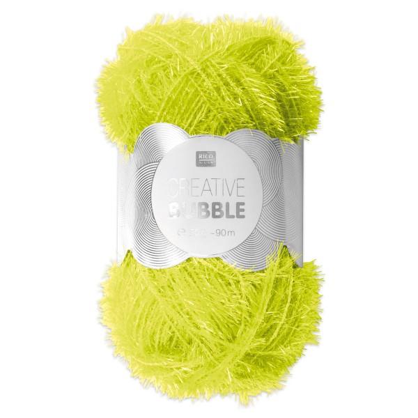 Creative Bubble Wolle 50g ca. 90m neongelb Nadel Stricken Nr. 2, Häkeln Nr. 4, 100% Polyester