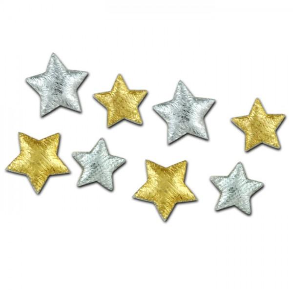 Satin-Sterne 13&18mm 30 St. gold-&silberfarben Kunstfaser
