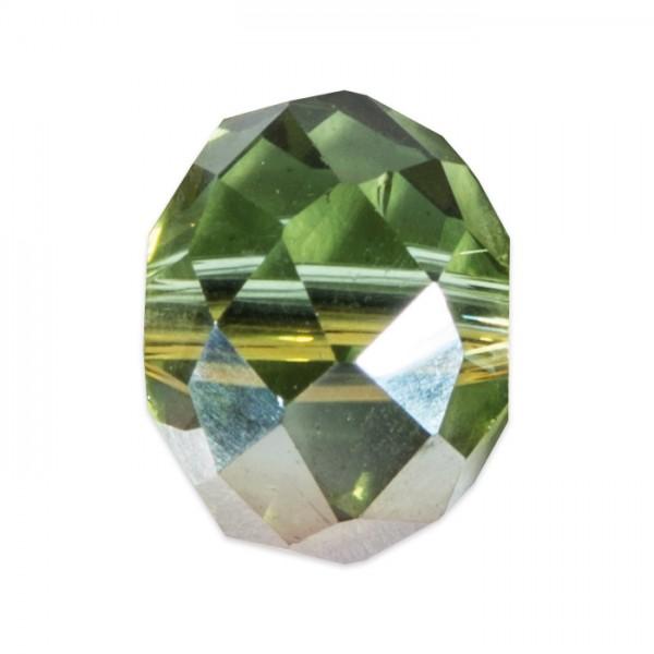 Facettenschliffperlen 6mm 30 St. oliv-lila AB transparent, feuerpoliert, Glas, Lochgr. ca. 1mm