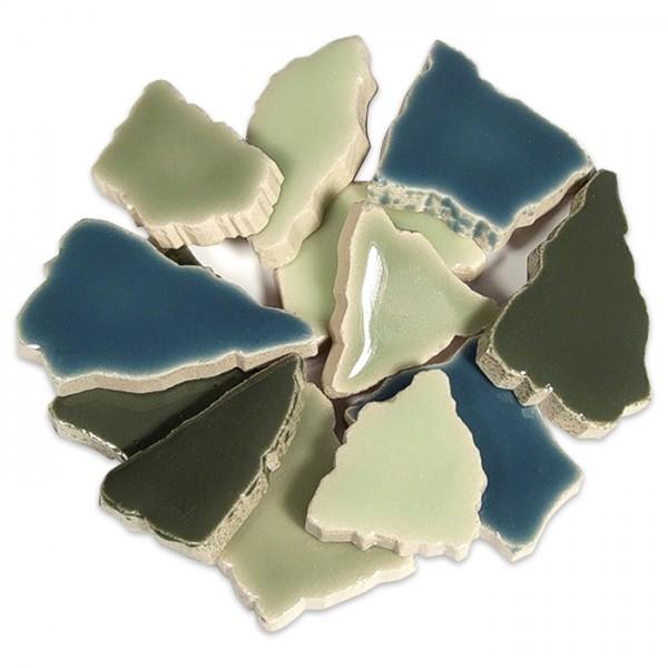 Flip-Keramik 2-6cm 750g ca. 65 Steine grün mix ca. 6,5mm
