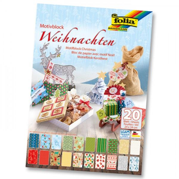 Motivblock 24x34cm 20 Bl. Weihnachten III 10 Motive, 270g/m², einseitig bedruckt
