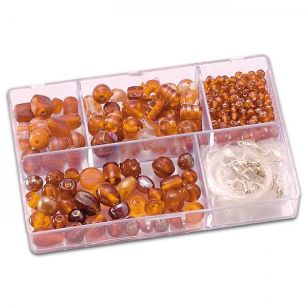 Schmuckbox Glasperlen & Zubehör ca. 80g orange 3-16mm, Lochgr. ca. 1-1,5mm