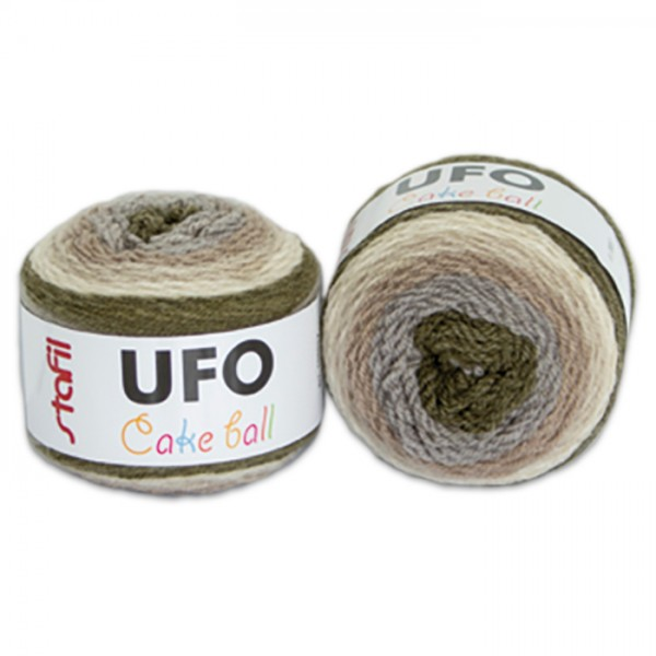 UFO Cake ball Mehrzweckgarn 200g braun-beige ca. 350m, Nadel 5, 75% Modacryl, 25% Wolle