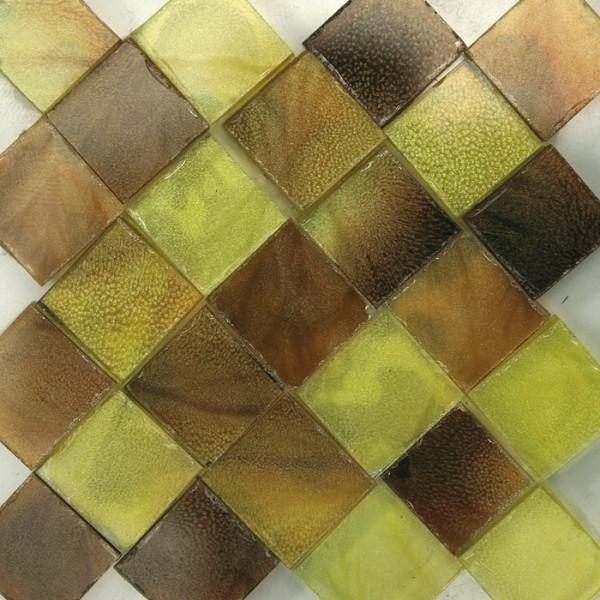 Glasmosaik 1x1cm ca. 850 Steine 500g gelb-braun transparent,ca. 2mm stark