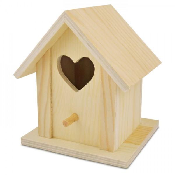 Vogelhäuschen m. Herz Holz h12,8cm 10,5x10cm natur