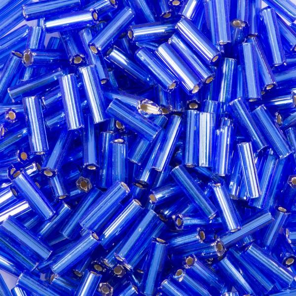 Glasstifte transparent 6mm 15g safirblau Silbereinzug, Lochgr. ca. 0,9mm