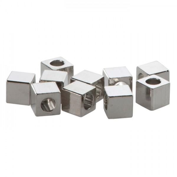Metallperle Würfel ca. 6mm 6 St. platinfarben Großloch ca. 3mm