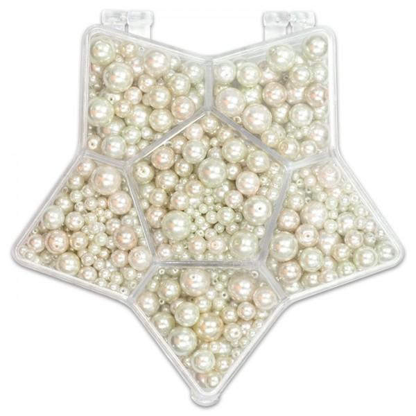 Glaswachsperlenbox Stern 3-14mm 150g weiß-kultur Kunststoff, Lochgr. ca. 0,5-1mm