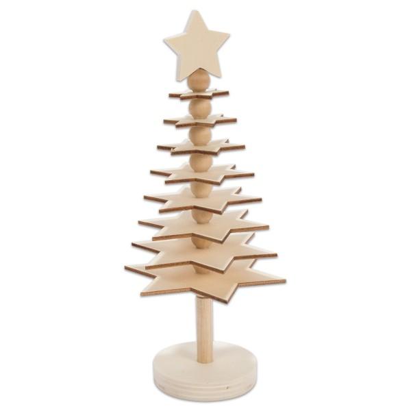 Bastelset 3D Weihnachtsbaum Holz 10x23cm natur mit Perlen,Ständer & Stern, 21 Teile