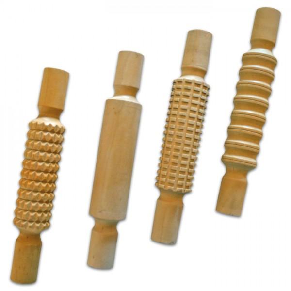 Knetrollen Holz 4 Designs 21x3,5cm 4er-Set natur