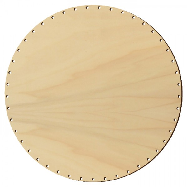 Korbflechtboden Holz 6mm Ø20cm rund natur 33 Bohrungen 3mm