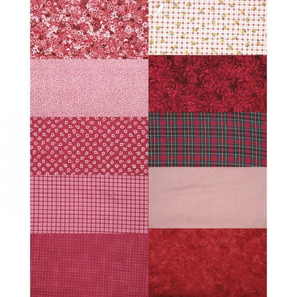 Patchwork-Set 10 Zuschnitte à 45x55cm rot 100% Baumwolle, 140g/m²